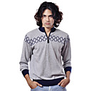 PURE CASHMERE / Patterns Zippers Stand Collar Long Sleeves Pure Cashmere Sweater / Men's Cashmere Sweaters (FF-C-BI0736833)