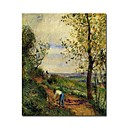 Stretched Handmade Landscape with a Man Digging Painting by Camille Pissarro  (0192-YCF103899)
