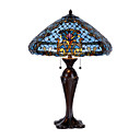 Tiffany Style Table Light with Blue Ceramic Shade (E27 Bulb Base)