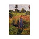 Stretched Handmade The Gardener, Afternoon Sun, Eragny Painting  by Camille Pissarro (0192-YCF103903)