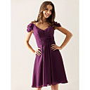 A-line V-neck Knee-length Chiffon Over Elastic Satin Bridesmaid/ Wedding Party Dress