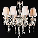 Crystal Chandelier with 8 Lights (K9 Crystal + White Shade)