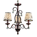 Iron and Crystal Chandelier with 3 Lights (Enamel Paint Finish)