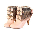 Leatherette Upper Mid Heels Short Boot With Faux Fur Fashion Shoe (0985-M303)