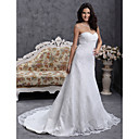A-line Sweetheart Court Train Lace Over Satin Wedding Dress