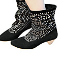 Suede Upper Low Heels Mid-Calf Boot With Lace Up Fashion Shoe (1131-9938-12)