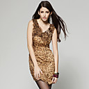 100% Silk Leopard Layered Flowers Design Dress / Women's Dresses (FF-A-BA0996010)