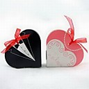 Tuxedo & Gown Heart Shaped Favor Box With Organza Ribbon (Set of 12)