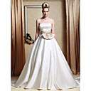 A-line Strapless Chapel Train Satin Wedding Dress with Ribbon