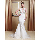 Trumpet/Mermaid Halter Court Train Satin Organza Wedding Dress