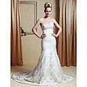 Trumpet/ Mermaid Strapless Court Train Satin Wedding Dress with Embroidery