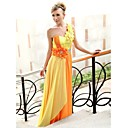 Sheath/ Column One Shoulder Sweep/ Brush Train Chiffon Ready-to-Wear Evening/ Prom Dress