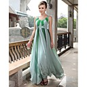 Sheath/ Column Scoop Floor-length Chiffon Satin Elastic Silk-like Satin Ready-to-Wear Evening Dress
