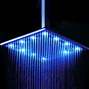 16 x 31 inch Stainless Steel Shower Head with Color Changing LED Light