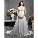 A-line V-line Court Train Satin Chiffon Wedding Dress