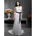 Trumpet/ Mermaid V-neck Sleeveless Chiffon Court Train Wedding Dress