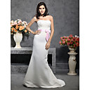 Trumpet/ Mermaid Strapless Sweep/ Brush Train Satin Wedding Dress with Ribbon