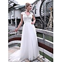 Sheath/ Column V-neck Sweep/ Brush Train Chiffon Tulle Ready-to-Wear Evening/ Prom Dress