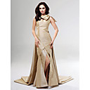 Taffeta Sheath/ Column V-neck Court Train Evening Dress inspired by Blair in Gossip Girl