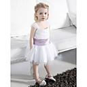 A-line Square Straps Knee-length Tulle Stretch Satin Flower Girl Dress