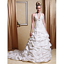 Ball Gown Halter Chapel Train Taffeta Pick-up Wedding Dress