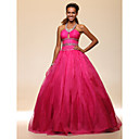 Ball Gown Halter Floor-length Satin Organza Evening/Prom Dress