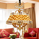 Luxuriant Golden 4-Light Pendant Light with Glaring Pleuche Lamp
