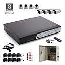 8 canali all-in-one kit cctv + 4 pezzi bianco 24led telecamera dome + 4 pezzi fotocamera impermeabile bianco + 1000 GB HDD
