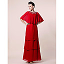 A-line Jewel Half Sleeve Floor-length Chiffon Mother of the Bride Dress