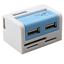 Colorful USB 2.0 COMBO Hi-speed 2 Port USB hub with 43 in 1 Card Reader