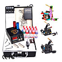 Complete Tattoo Kit with 3 Machines LCD power and 10 Color Ink