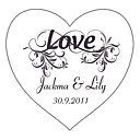 Personalized Heart-shaped Favor Stickers—Pure Love (set of 90)