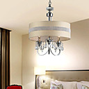 40W Crystal Pendant Light with 3 Lights - Fabric Cylinder Lampshade