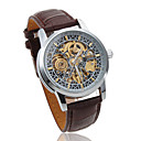 Men's Mechanical PU Leather Wrist Watch with Hollow Engraving