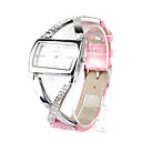 Pink PU Leather Band Women's Quartz Wrist Watch with Crystal Decoration