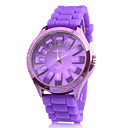 Fashionable Quartz Wrist Watch with Purple Silicone Band