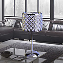 Crystal Table Light in Square Metal Featured Lampshade