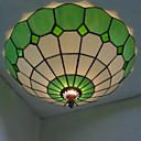 40W Semi Flush Mount in Tiffany Style - Green Featured