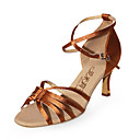 Satin Upper Latin Dance Shoes Ballroom Practice High Heel Shoes for Women