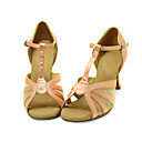 Ballroom Satin Upper Pink Latin Dance Shoes Practice Shoes for Women
