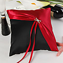 Classic Red & Black Wedding Ring Pillow