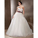 Fairy Feather Bodice Chapel Train Tulle Wedding Dress
