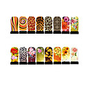 12st nail art folie armor wraps patch stickers-geel-serie
