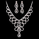Elegant Ladies' Rhinestone In Silver Alloy Necklace And Earrings Set