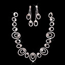 Ladies' Rhinestone In Silver Alloy Wedding Necklace And Earrings Set