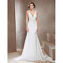 Exquisite Trumpet/ Mermaid V-neck Court Train Elastic Woven Satin Wedding Dress