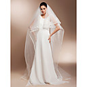 Two-tier Chapel Length Wedding Veils With Finished Edge