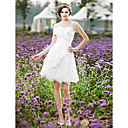 A-line Spaghetti Straps Knee-length Taffeta Lace Wedding Dress