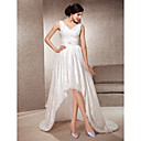 A-line V-neck Asymmetrical Court Train Taffeta And Lace Wedding Dress