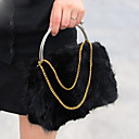 Rabbit Fur Gold Chain Bag